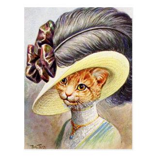 Kat die het pet van de Veer dragen Briefkaart