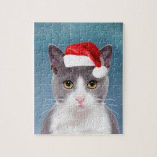 Kat die het Portret van Kerstmis van het Pet van Puzzel