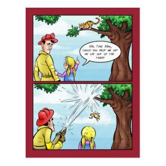 Kat die in de Cartoon van de Boom wordt geplakt Briefkaart