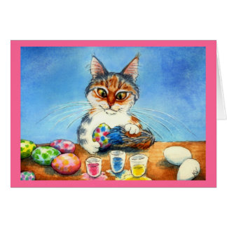 Kat die Paaseieren met staart schilderen Briefkaarten 0