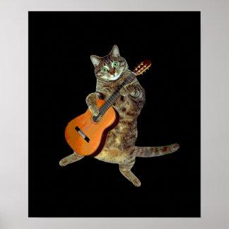 Kat en gitaar poster