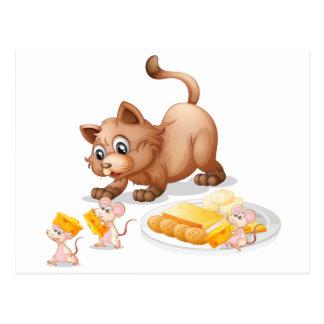 Kat en muizen briefkaart