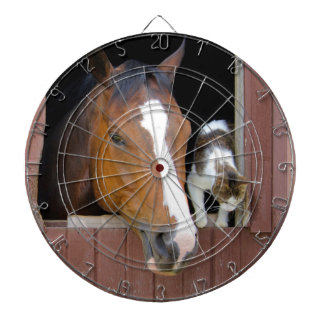 Kat en paard - paardboerderij - paardminnaars dartbord