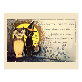 Kat en Uil in het Vintage Briefkaart van Halloween
