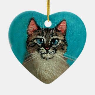 Kat hart-Gevormde Kerstmis of Valentijn Keramisch Hart Ornament