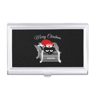 Kat in doos Vrolijke Kerstmis Visitekaartjes Houder