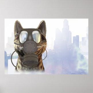 Kat in een poster van de gasmaskerecologie