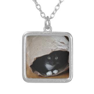 Kat in een zak 2 zilver vergulden ketting