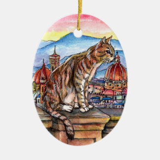 Kat in Florence Keramisch Ovaal Ornament