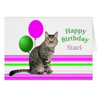 Kat met de Kaart van de Verjaardag van Ballons