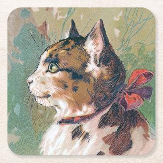Kat met de Rode Vintage Illustratie van het Lint Vierkante Onderzetter