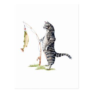 Kat met een Vis Briefkaart