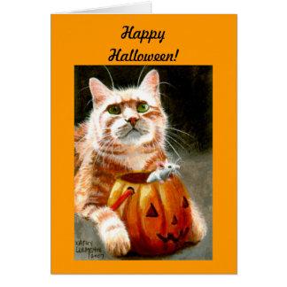Kat met Muis in Pompoen Gelukkig Halloween! Briefkaarten 0