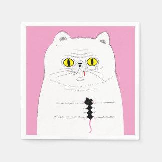 Kat met Servet van de Tekening van de Muis het Papieren Servetten