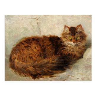 Kat op een Kussen door Henriette Ronner-Knip Briefkaart