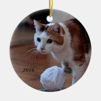 Kat Rond Keramisch Ornament