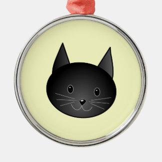 Kat. Schattige zwarte kitty. Zilverkleurig Rond Ornament