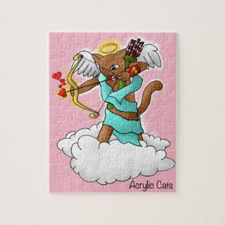 Kat van de Cupido van de Valentijnsdag de Legpuzzel