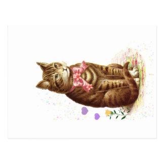 Kat van de Gestreepte kat van het vintage Briefkaart
