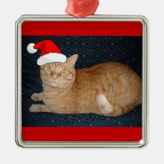 Kat van de Gestreepte kat van Kerstmis de Oranje Zilverkleurig Vierkant Ornament