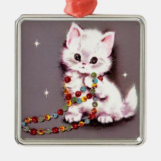 Kat van de Kat van vintage Kerstmis het Witte Zilverkleurig Vierkant Ornament
