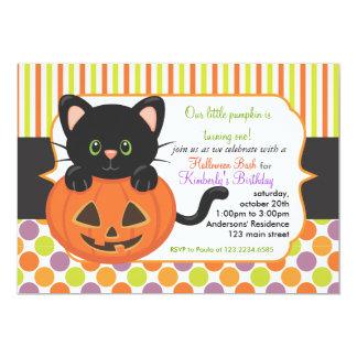 Kat van de Pompoen van de Partij van de Verjaardag 12,7x17,8 Uitnodiging Kaart