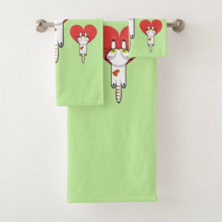 Katje dat zich aan liefde vastklampt bad handdoek