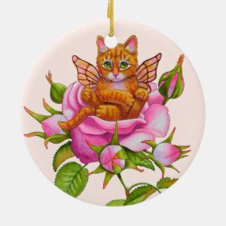 Katje die van de fee rusten in nam toe rond keramisch ornament