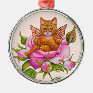 Katje die van de fee rusten in nam toe zilverkleurig rond ornament