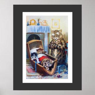 Katjes in de Wieg door Louis Wain Poster
