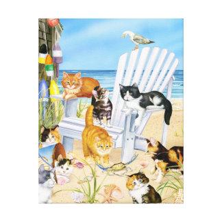 Katjes in Strand Uitgerekte Canva Canvas Afdruk
