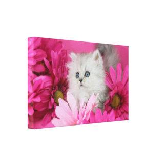 Katjes, Katten, Roze, Stippen Canvas Afdruk