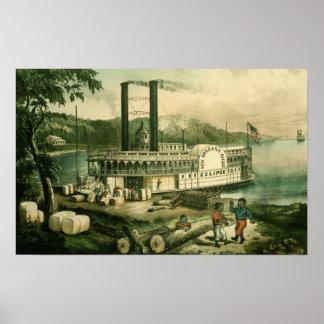 Katoen van de lading op de Mississippi, 1870 Poster