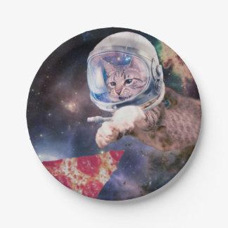 katten astronaut - grappige katten - katten in papieren bordje