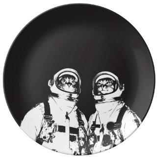katten astronaut - zwart-witte kat - kat memes porseleinen bord
