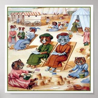 Katten bij het Strand door Louis Wain Poster