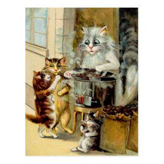 Katten die Geroosterde Kastanjes eten Briefkaart