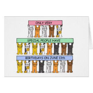 Katten die verjaardagen op 13th. vieren Juni Briefkaarten 0