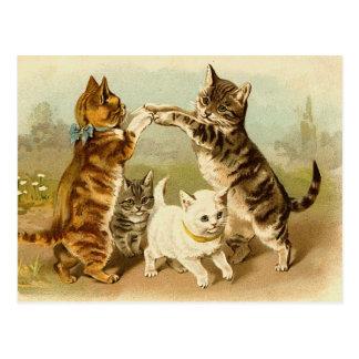 Katten die Vintage Illustratie spelen Briefkaart
