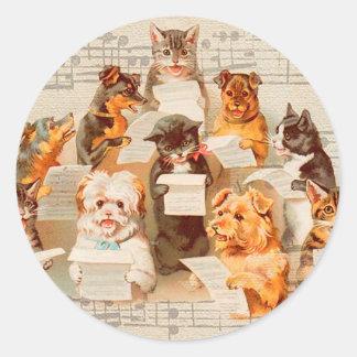 Katten & Honden die, Vintage Arthur Thiele zingen Ronde Sticker