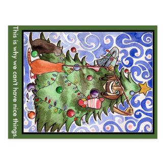 Katten & hun mens & een Kerstboom Briefkaart