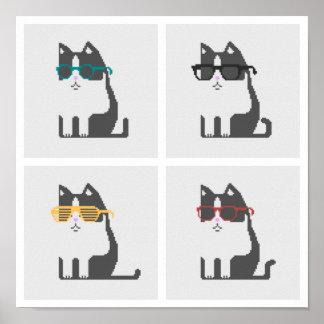 Katten in Art. van het Pixel van Glazen het Vierka Poster