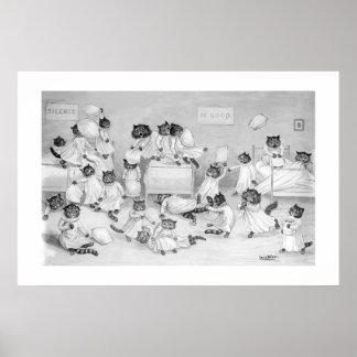 Katten in de Slaapzaal door Louis Wain - Poster