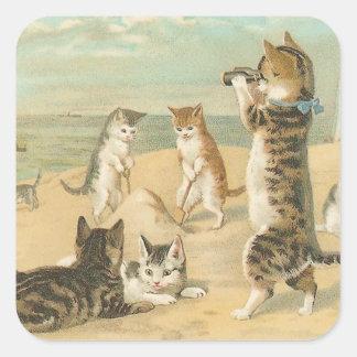 """""""Katten op het Strand"""" Wijnoogst Vierkant Sticker"""