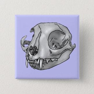 katten schedel vierkante button 5,1 cm