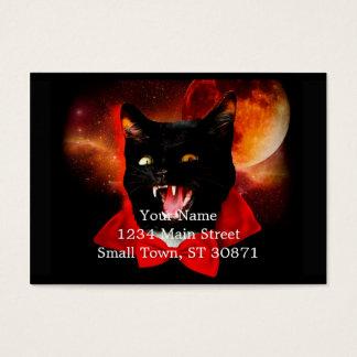 katten vampier - zwarte kat - grappige katten visitekaartjes