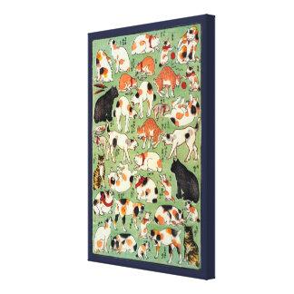 Katten van de Edo era, Utagawa Yoshifuji, ukiyo-E Canvas Afdrukken