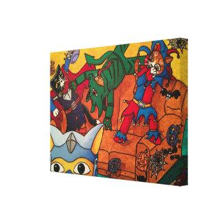 Katten van het Kostuum van de Ridder van Halloween Canvas Afdruk
