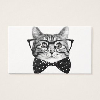 katten vlinderdas - de kat van Glazen - glaskat Visitekaartjes