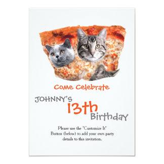 Katten voor de pizza-Minnaar 12,7x17,8 Uitnodiging Kaart